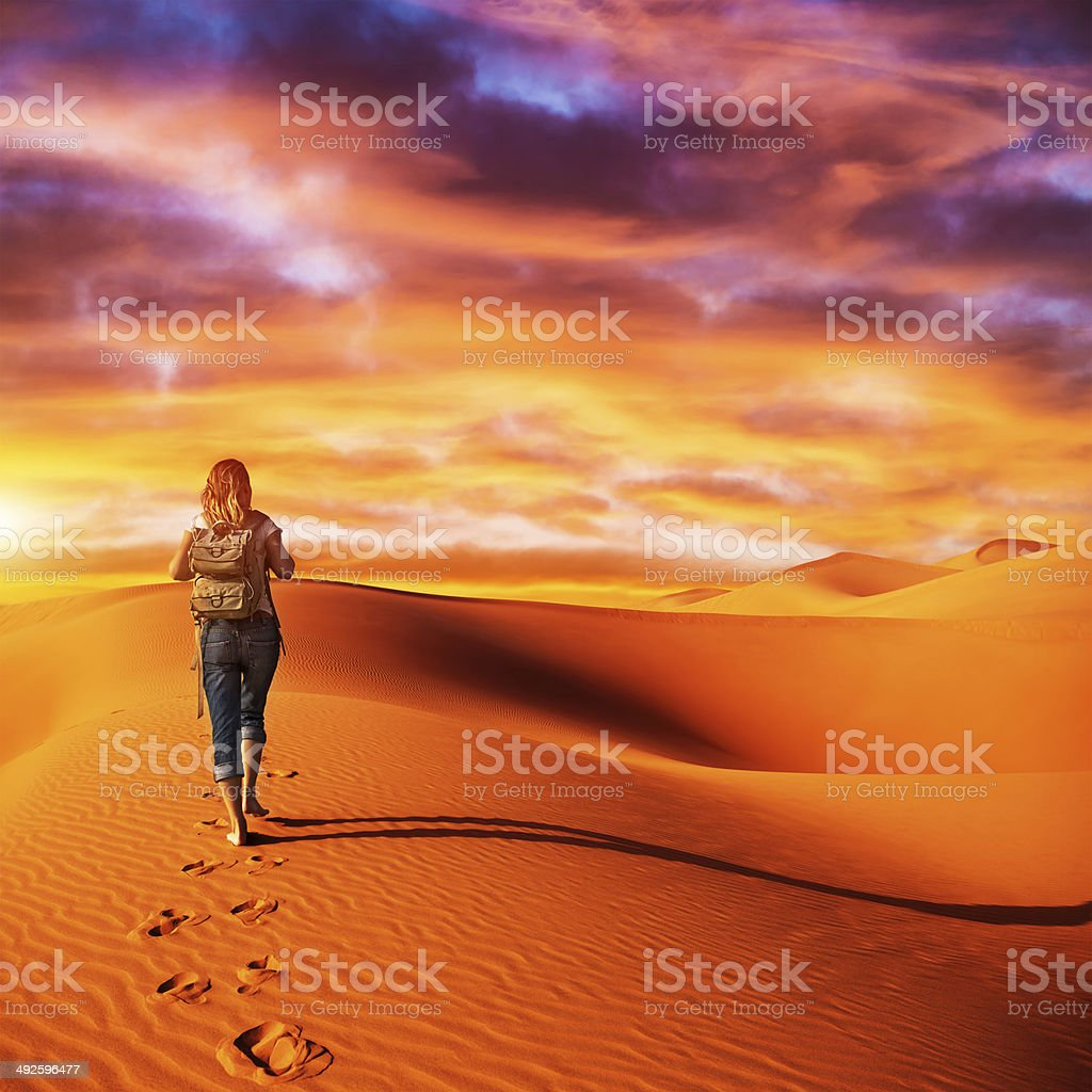 Traveler in the desert stock photo