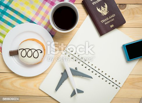 istock Traveler items on wooden cafe table. 585609024