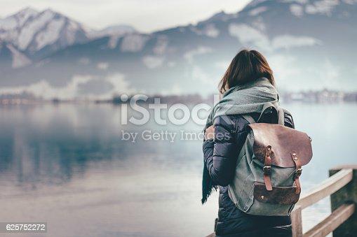 istock Traveler looks at landscape 625752272