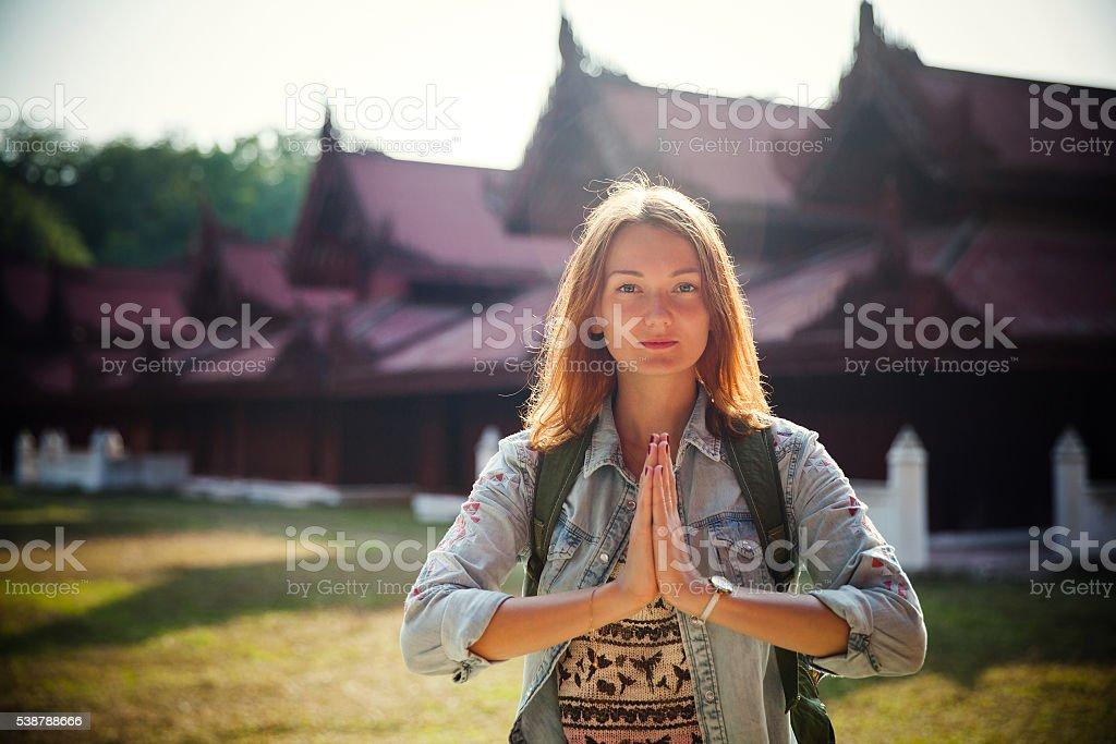 Traveler. Mandalay, Myanmar (Burma) stock photo