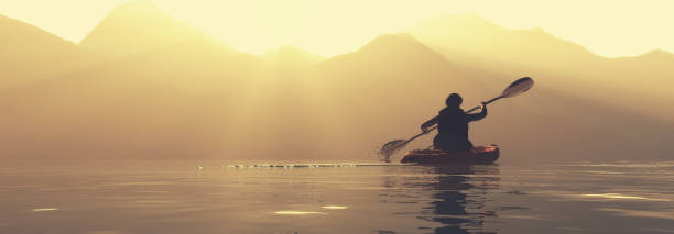 Traveler on a kayak in a lake at mountains during sunset. This is a 3d render illustration. stock photo