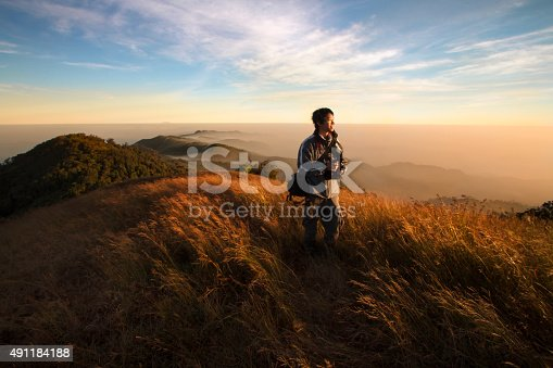 istock Traveler on beautiful mountain and sunrise. 491184188