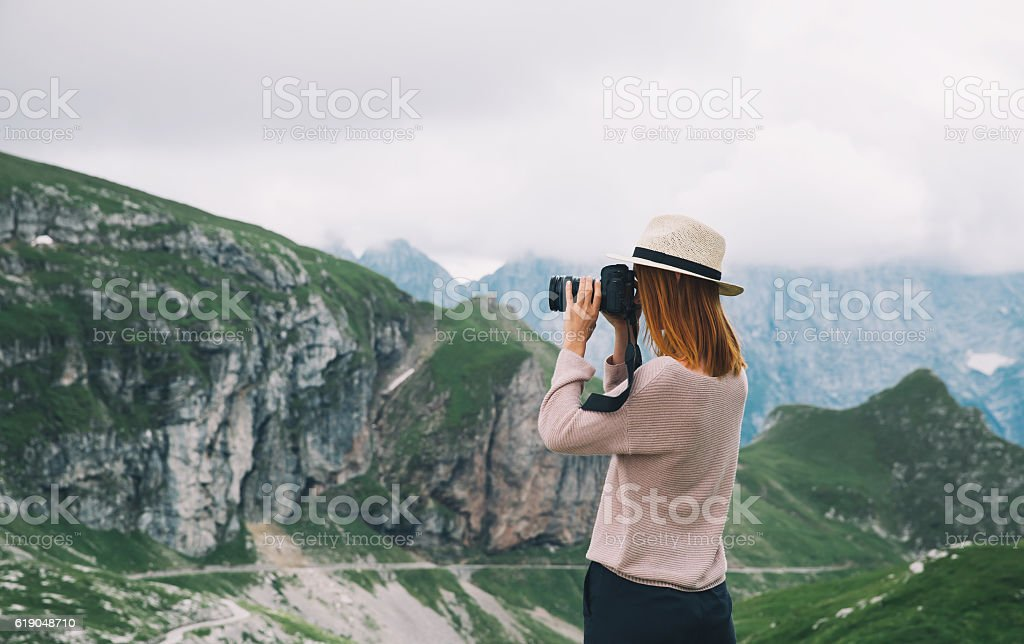 Traveler or hiker in the mountains