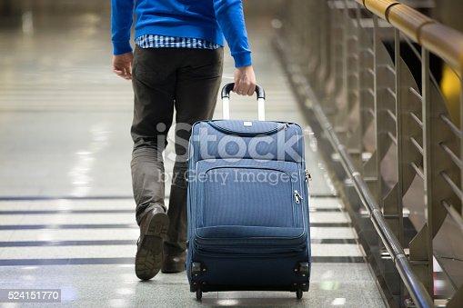 istock Traveler pulling suitcase close-up 524151770