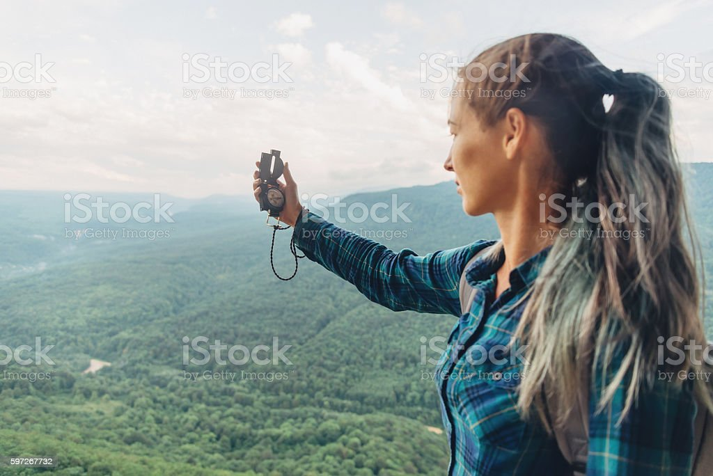 Traveler searching direction stock photo