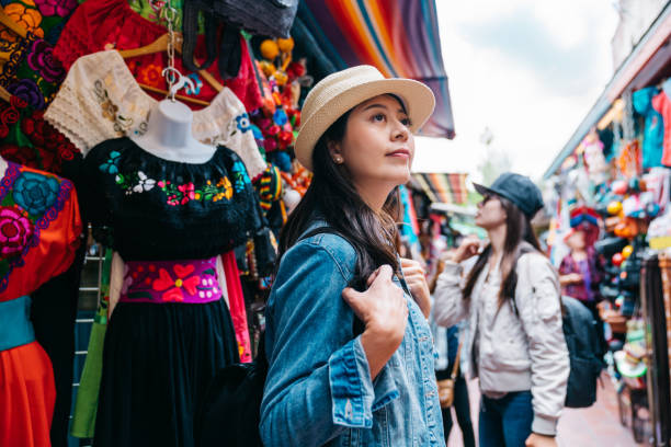 traveler shopping in the traditional market stock photo