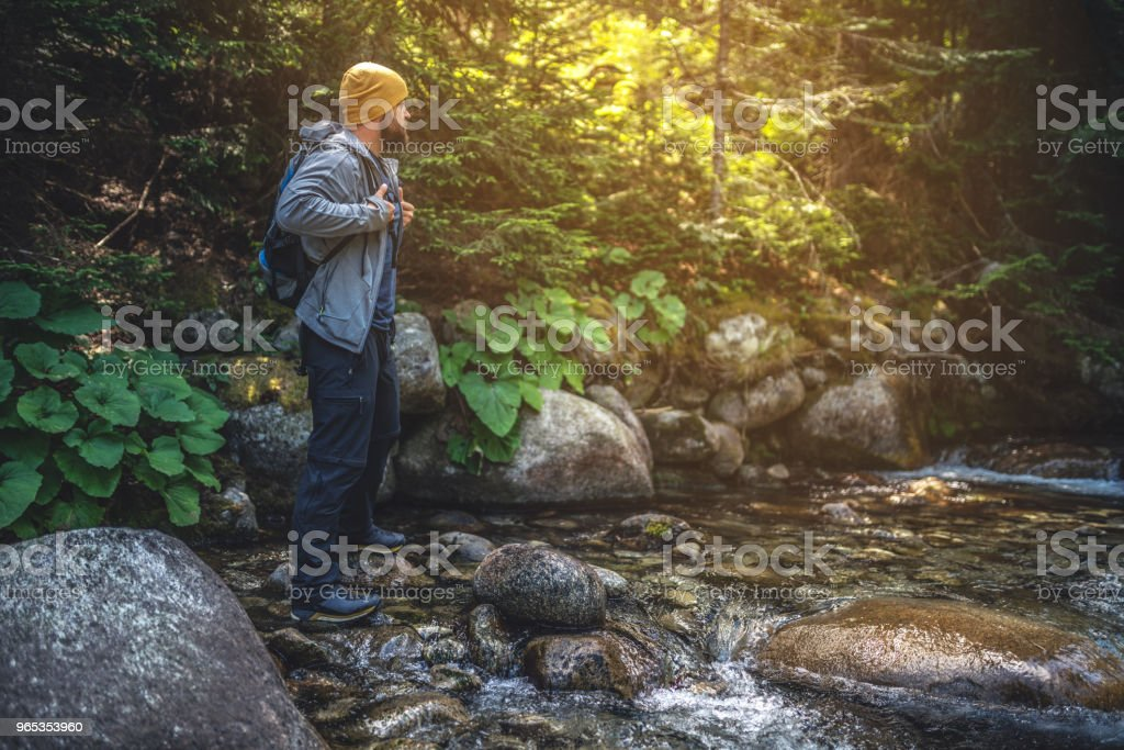 Traveler stands at the river in mountains royalty-free stock photo