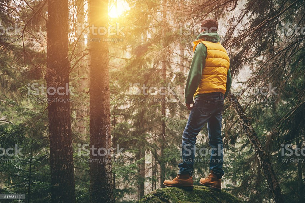 Traveler stands on a huge stone and looking ahead stock photo