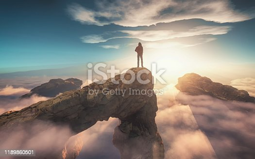 istock Traveler with a backpack standing on a mountain peak above clouds. 3d render illustration 1189860501