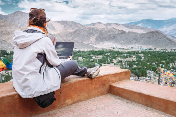 Traveler with laptop sits on top view point on the mountain valley picture id648868332?b=1&k=6&m=648868332&s=612x612&w=0&h=uhhb8vounqqtr62fvcvvm6fob9obl2at1gijzrkr3rw=