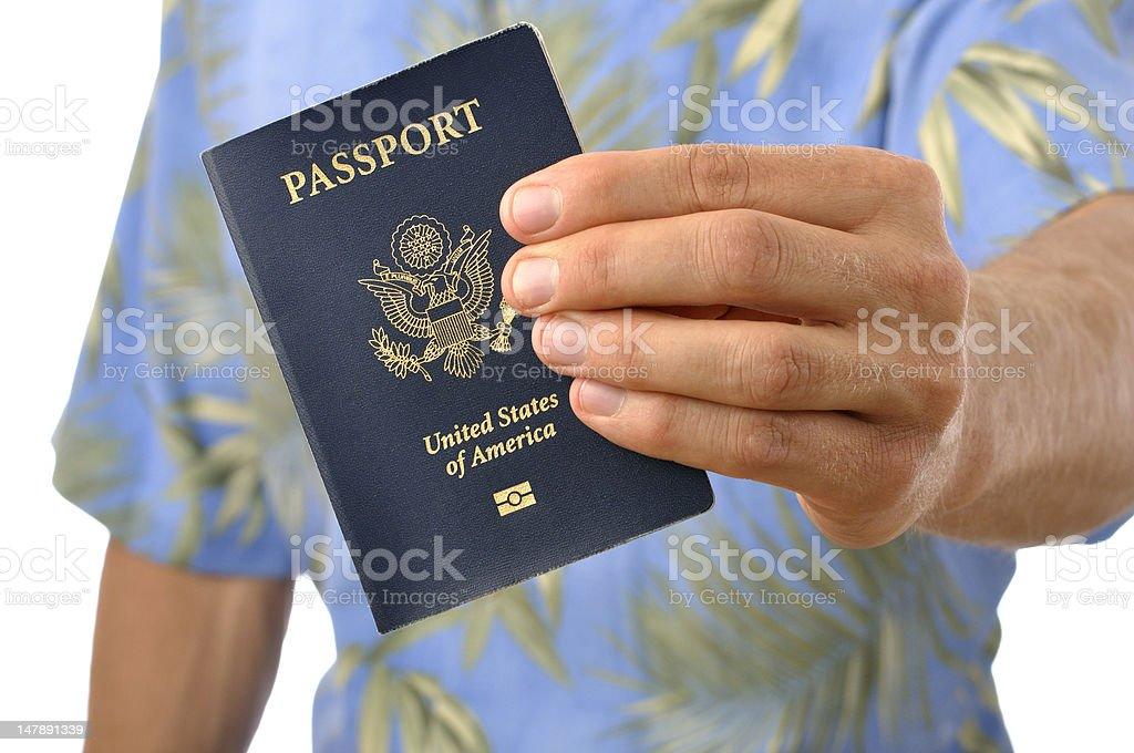 Traveler with passport royalty-free stock photo