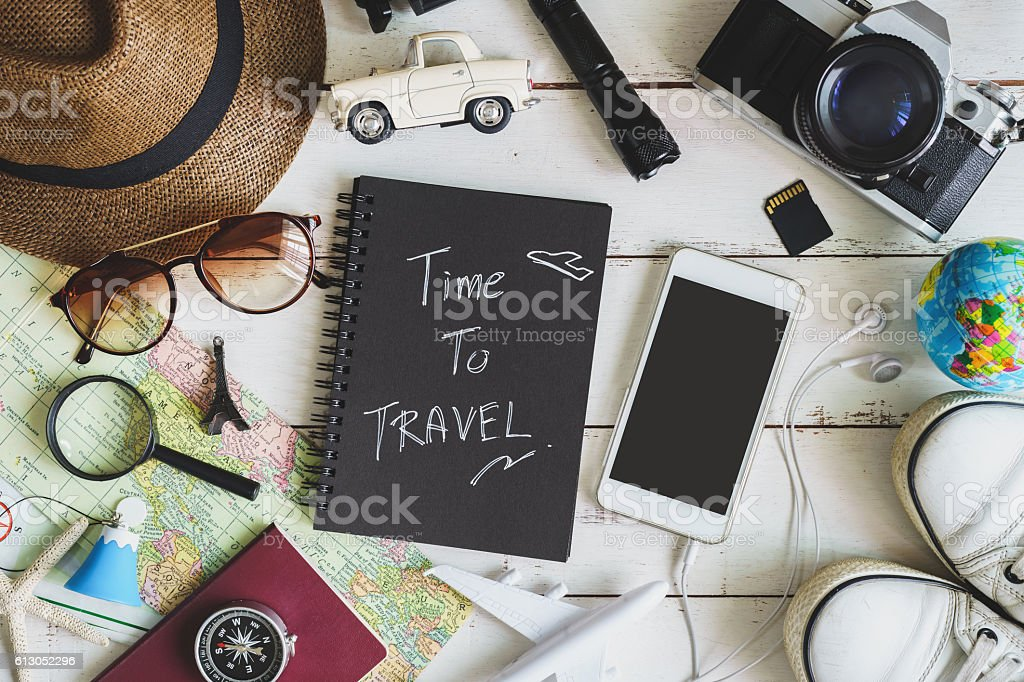Traveler's accessories and items with black notebook – Foto