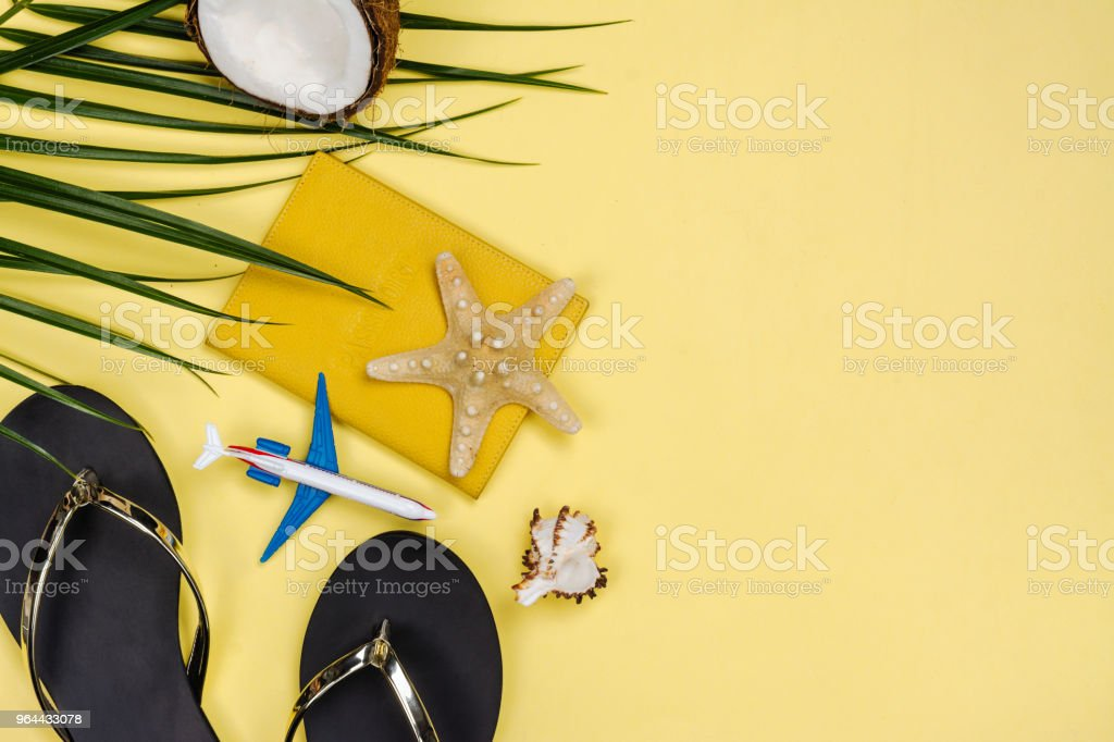 Travelers accessories on summer background - Royalty-free Beach Stock Photo