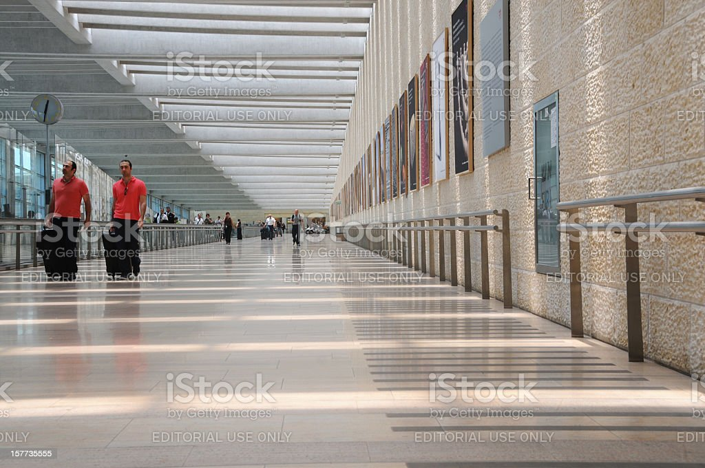 Travelers at airport stock photo