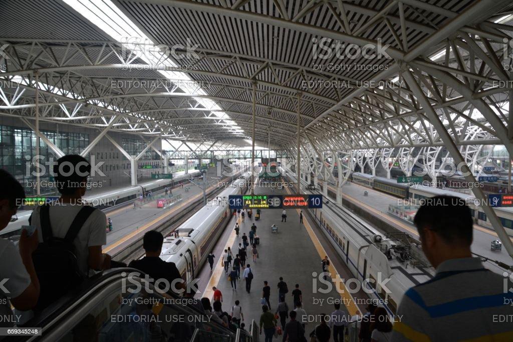 Travelers at Nanjing Railway Station, China stock photo