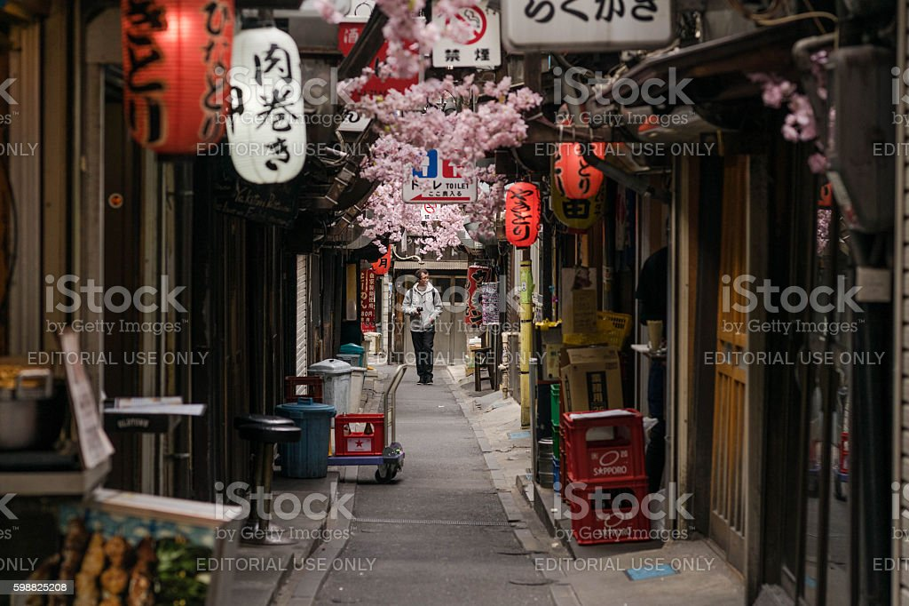 Travelers at restaurant and bar street in  Japan stock photo