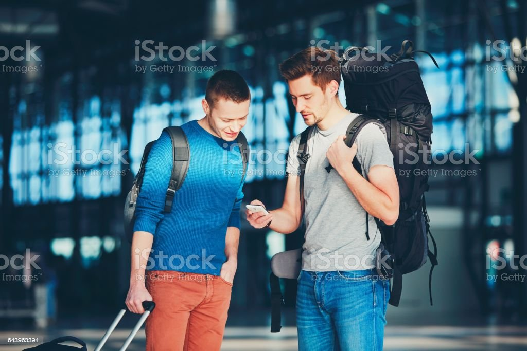 Travelers at the airport stock photo