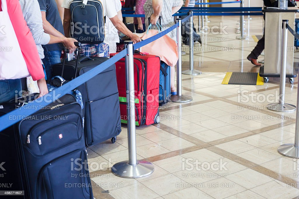 Travelers at the Los Angeles (LAX) airport royalty-free stock photo