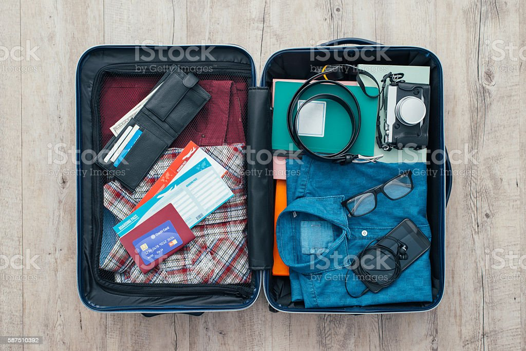 Traveler's bag stock photo