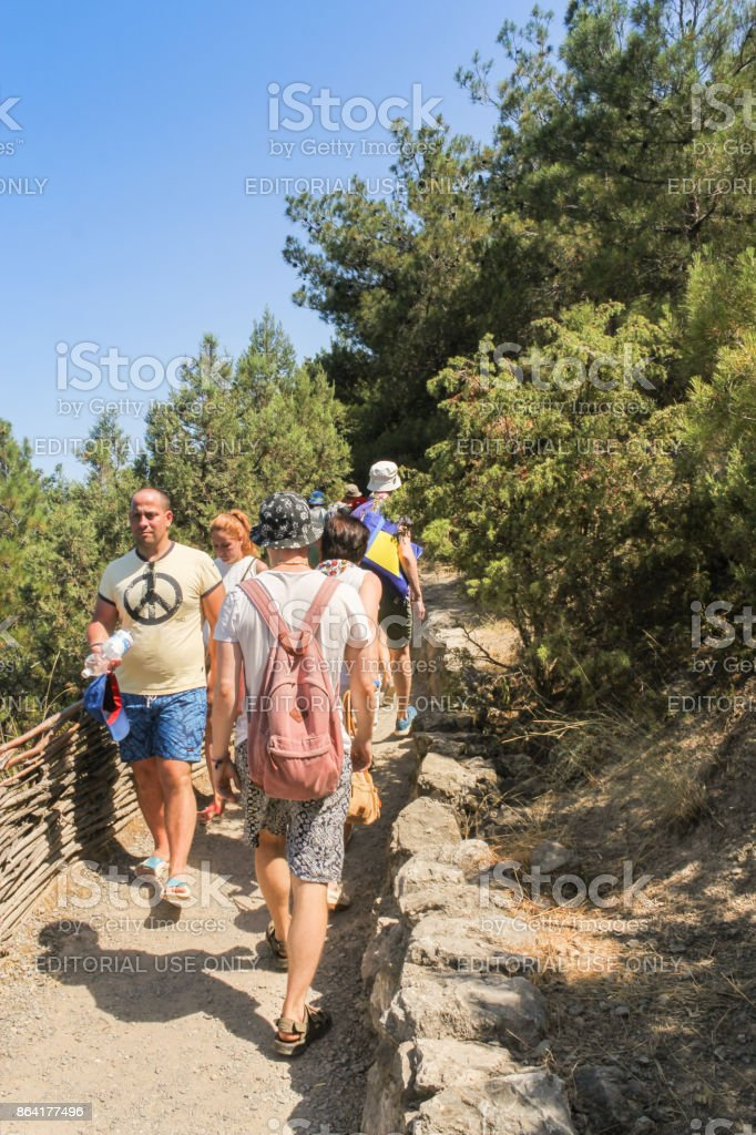 Travelers on the trail. royalty-free stock photo