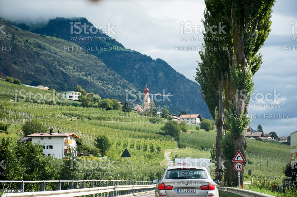 Travelers people driving car on the highway road at countryside stock photo