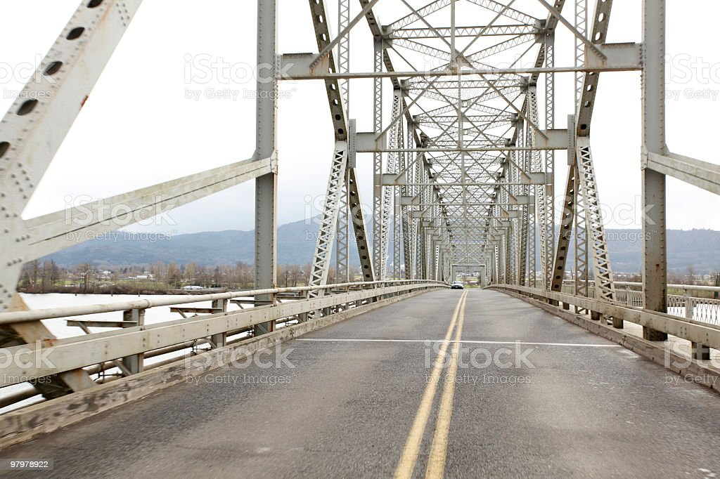 Traveling across a bridge royalty-free stock photo