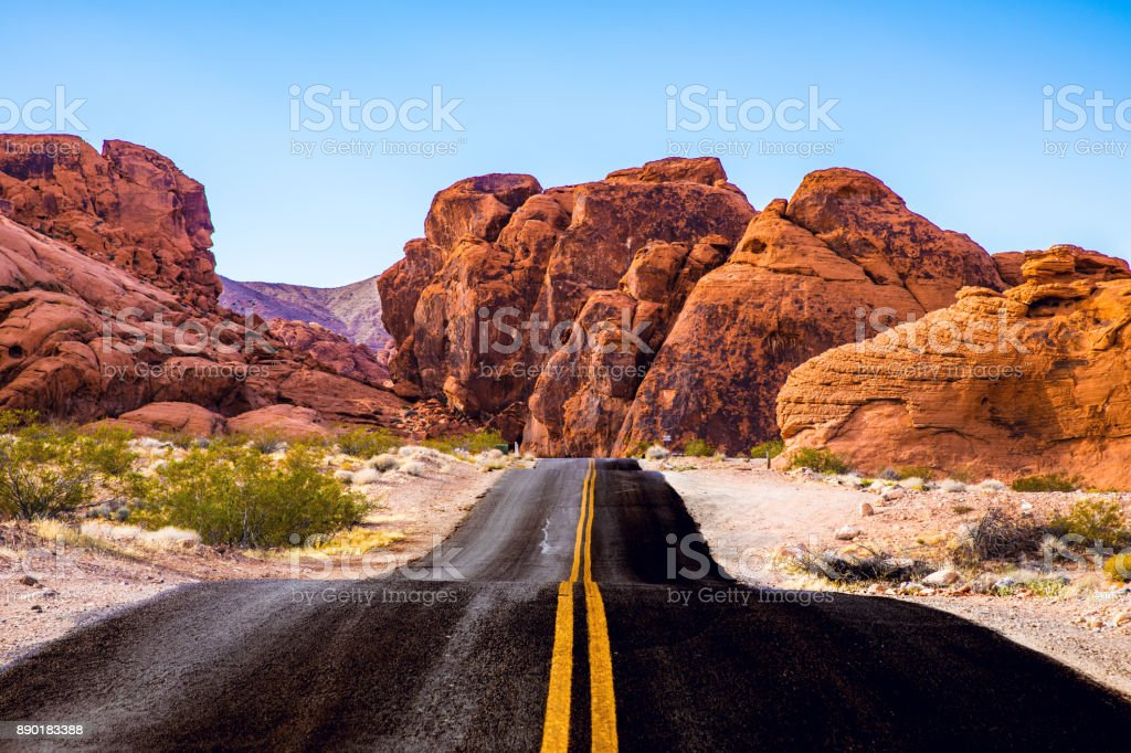 Traveling along Valley Of Fire - Road trip in the western of the United States stock photo