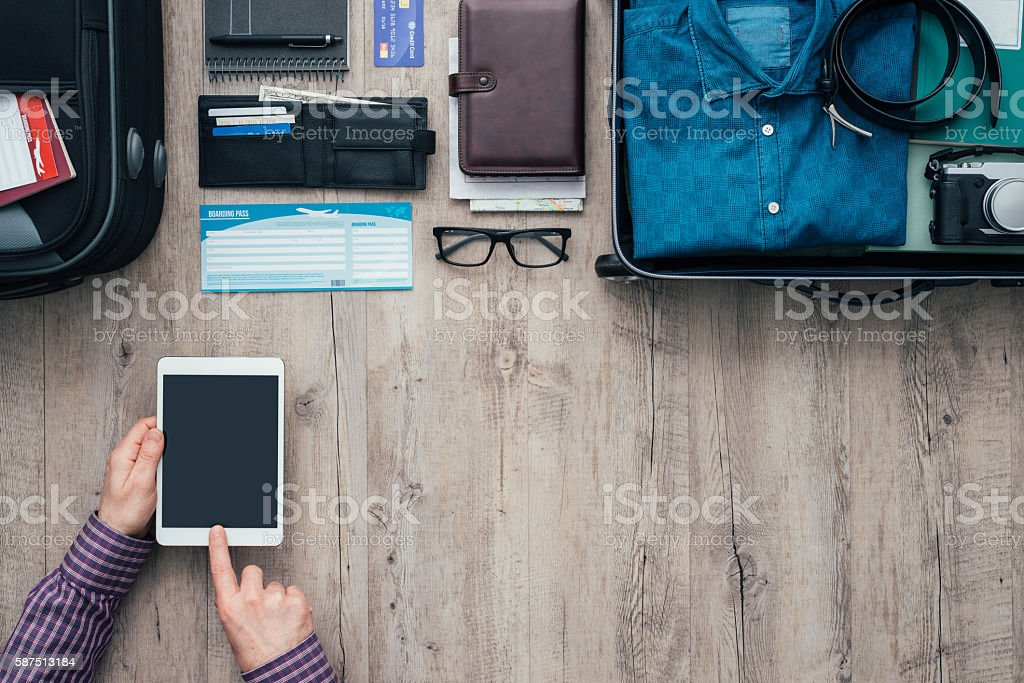 Traveling and booking online stock photo