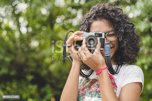Girl photographing nature