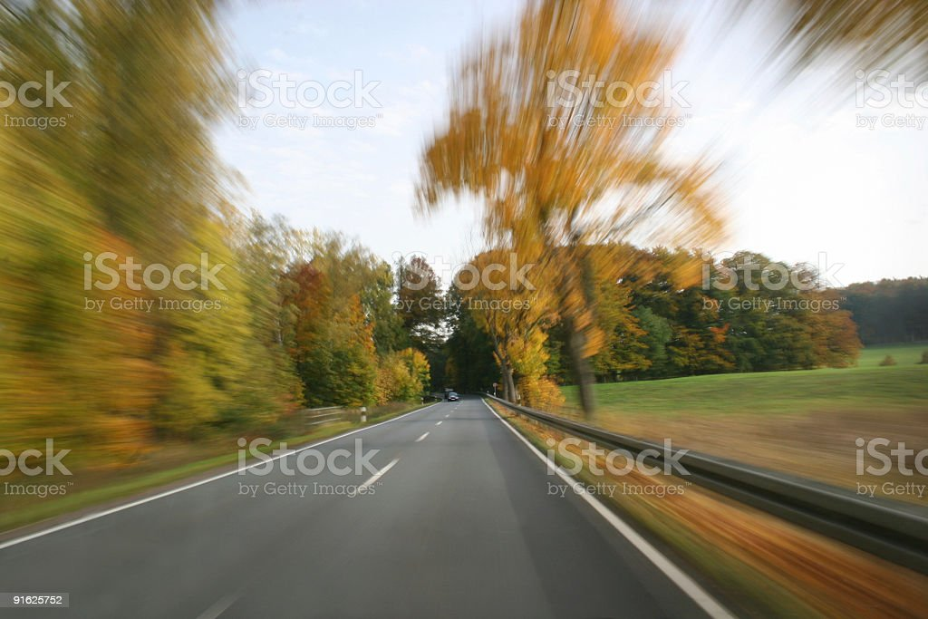 Traveling at full speed on a country road stock photo