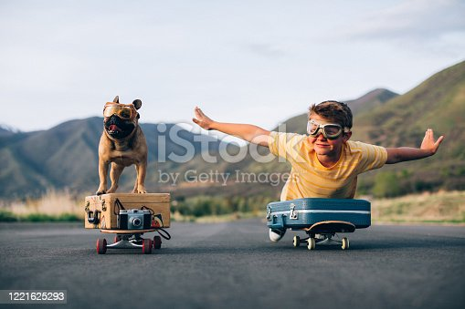 istock Traveling Boy and his Dog 1221625293