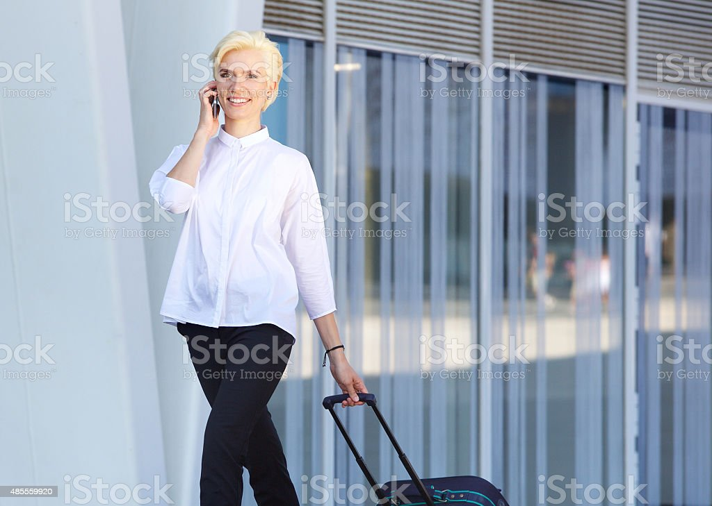 Traveling business woman stock photo