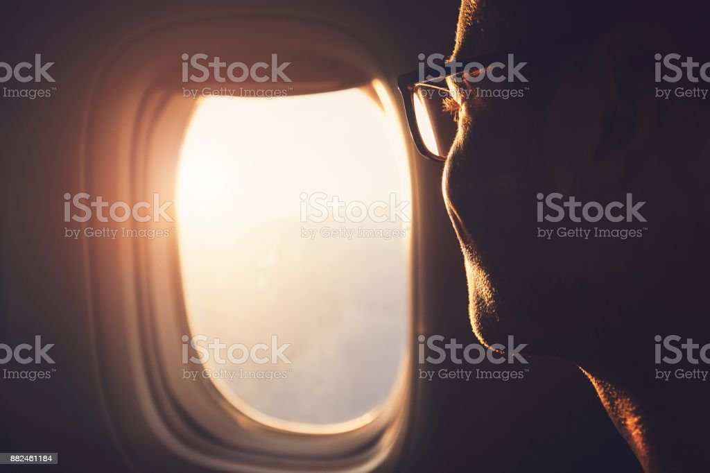Traveling by airplane royalty-free stock photo