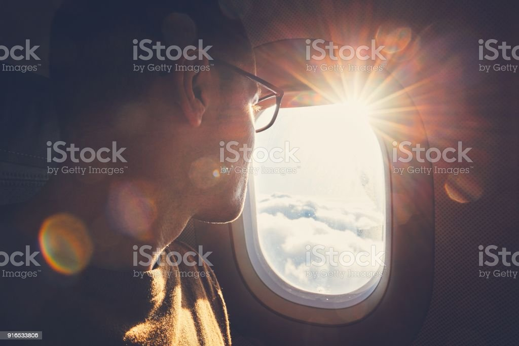 Traveling by airplane foto stock royalty-free