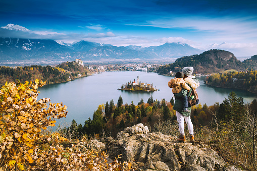 629376126 istock photo Traveling family looking on Bled Lake, Slovenia, Europe 623479410