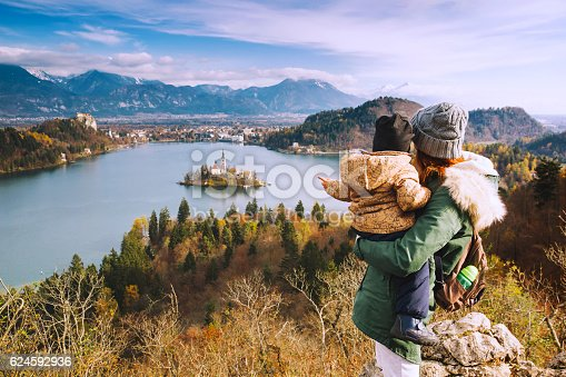 629376126istockphoto Traveling family looking on Bled Lake, Slovenia, Europe 624592936