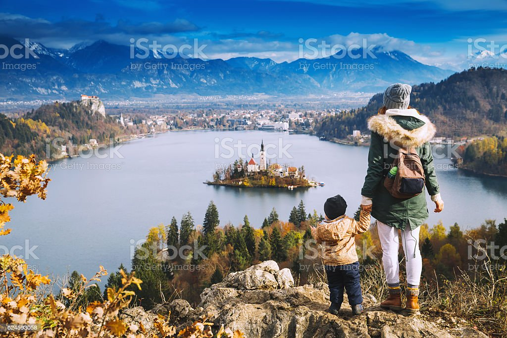 Traveling family looking on Bled Lake, Slovenia, Europe ストックフォト