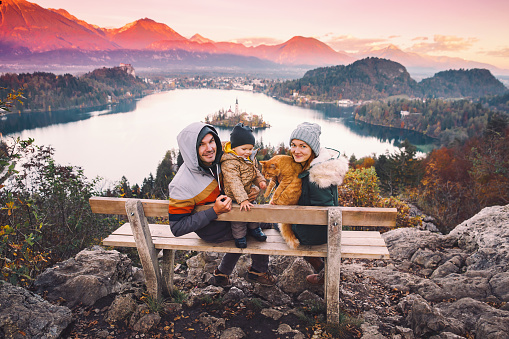 629376126 istock photo Traveling family looking on Bled Lake, Slovenia, Europe 624593146
