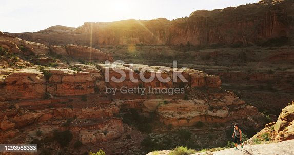 Traveling in USA Southwest:Woman hiking near Canyonlands, Moab