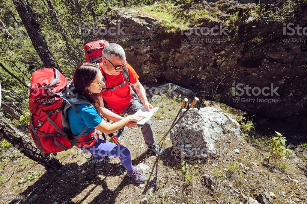 Traveling is a tourist route with a backpack royalty-free stock photo