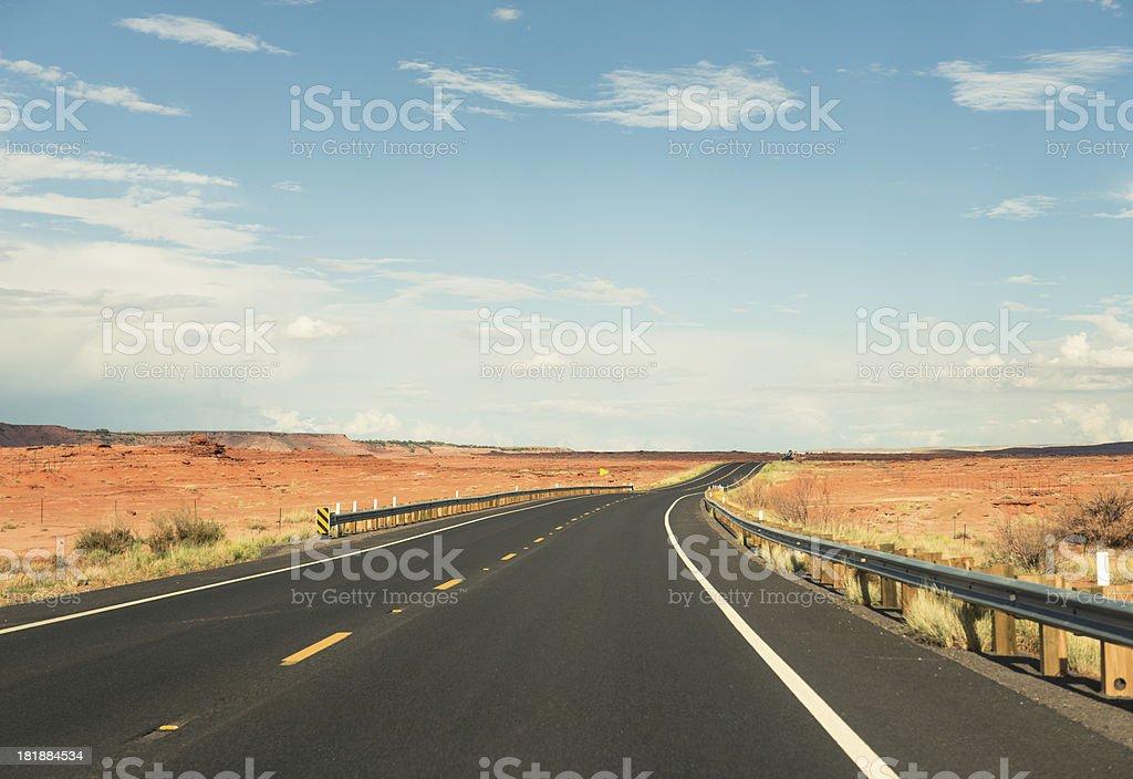 traveling on the arizona and utah desert stock photo