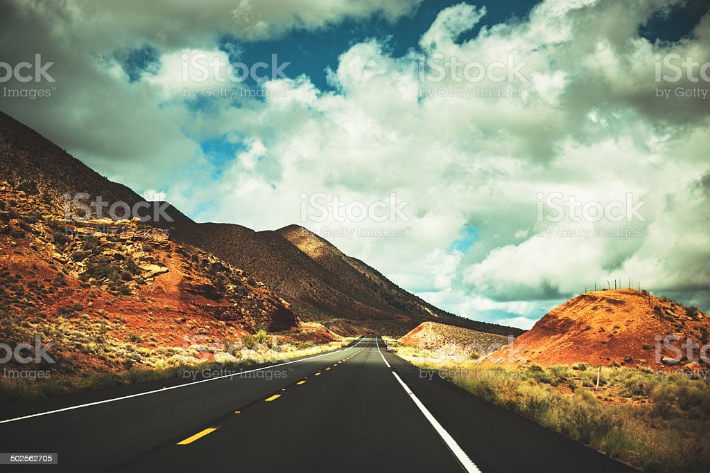 traveling on the arizona and utah desert stock photo