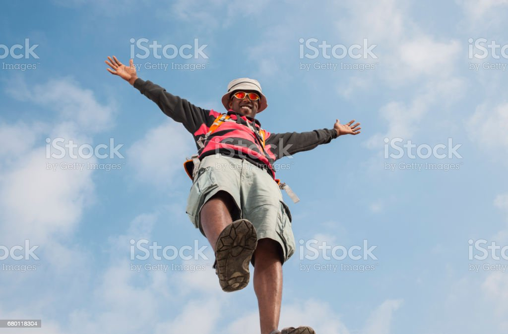 Traveling outdoors under sky. stock photo