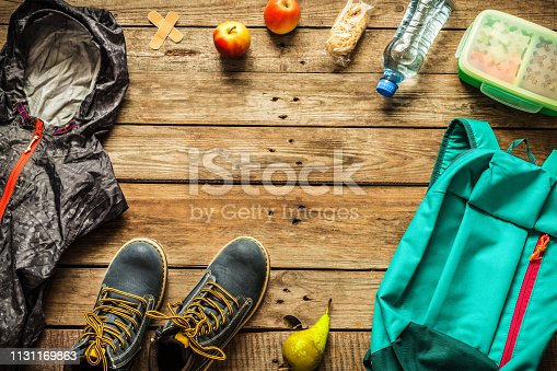 istock Traveling - packing (preparing) for adventure trip concept 1131169863