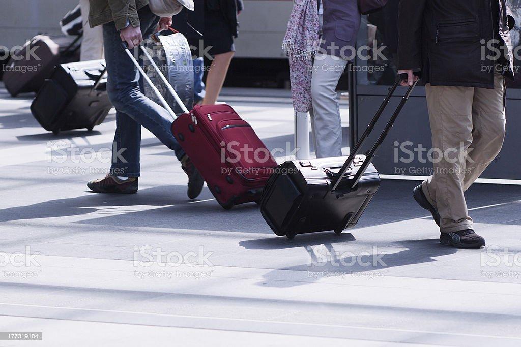 traveling people on the station platform stock photo