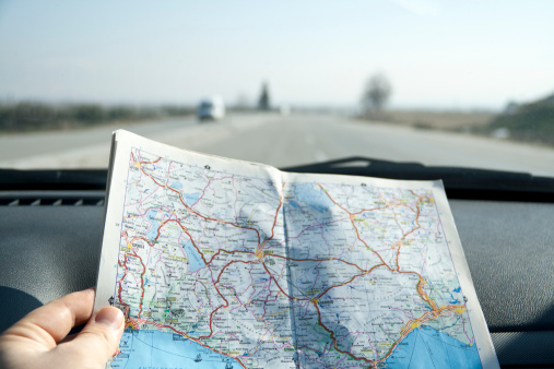 Directions on a map in a car whilst traveling