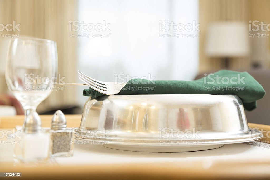 Traveling:  Room service delivered in a hotel suite. stock photo