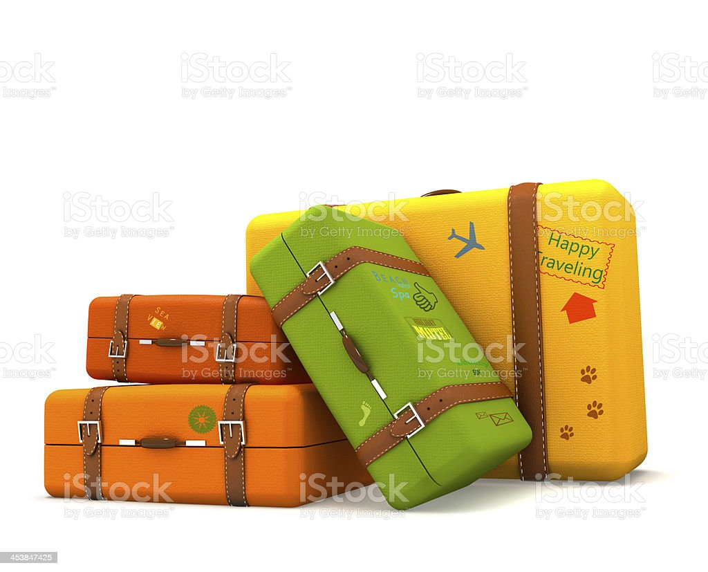 Traveling suitcases stock photo