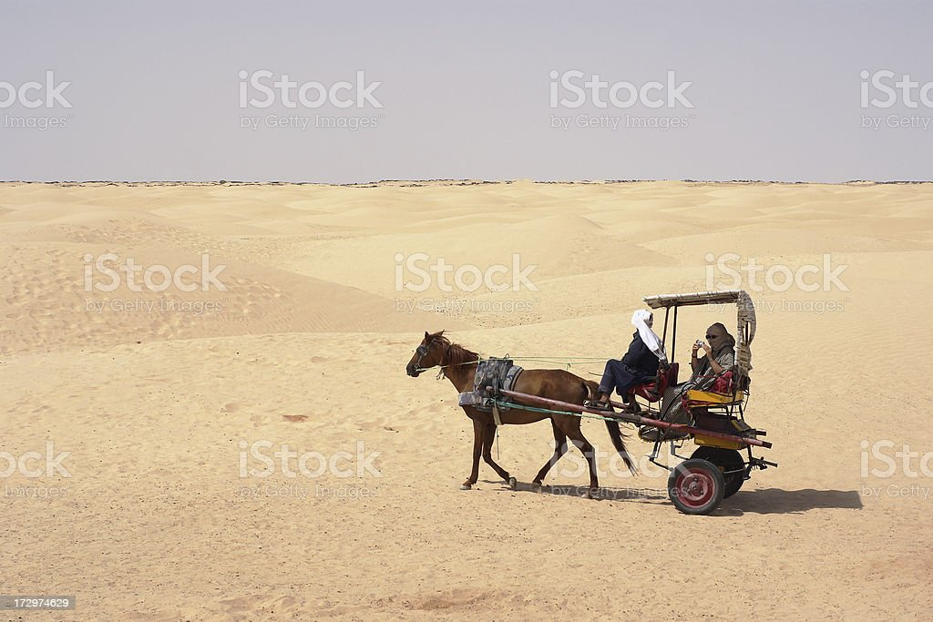 Traveling through desert stock photo