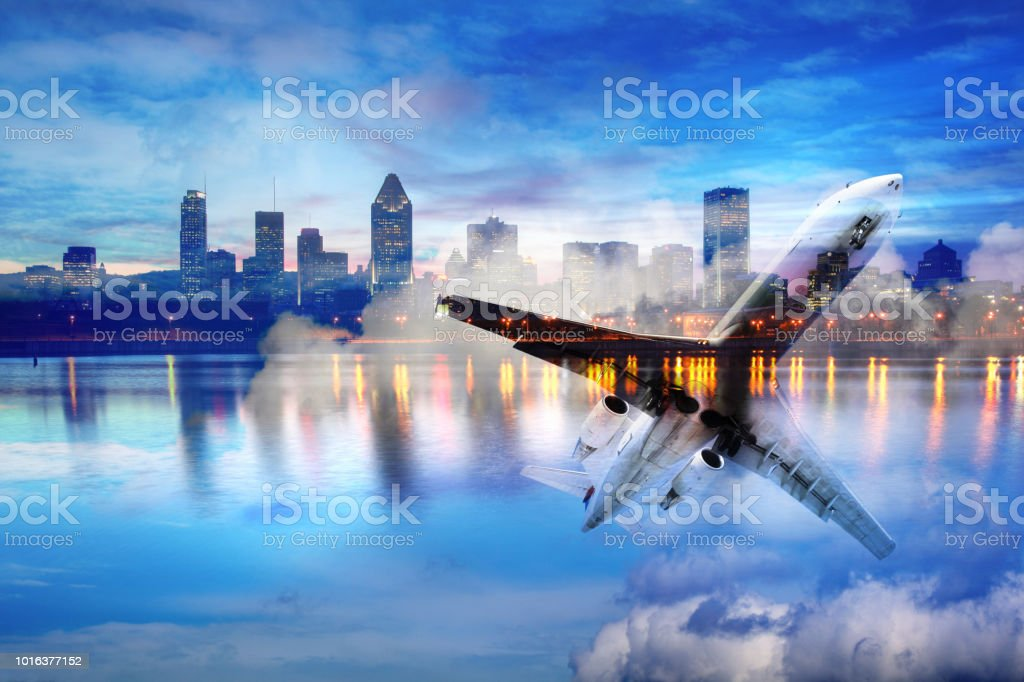 Traveling to Montreal Photo Montage stock photo